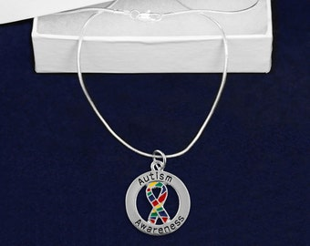 Autism Awareness Round Ribbon Necklace (Retail) (RE-N-P35-2)