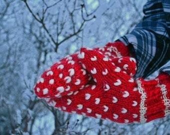 Elfin Pattern - Thrummed Mitten Knitting Instructions -  Hand Knit Wool Stuffed Lined Mitts