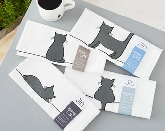 Cat Tea Towels - Set of 4 Premium Cotton Tea Towels, Screen-printed in the UK, Gift for Cat Lovers, Kitchen Towel