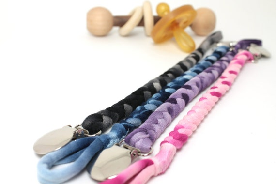 Pacifier Strap / Mulit Color Braided Pacifier Clip / soothie / binky clip / pacifier holder / shower gift / Jersey Braided Pacifier clip