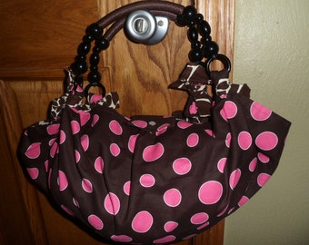 Pink polka dot hobo purse