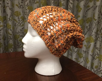 Ribbed Slouchy Beanie in Coral
