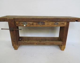 Industrial Wooden Work Table from the 1900's