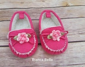 Baby Moccasins Baby Girl Booties Baby Girl Shoes Hot Pink Baby Shoes Baby Booties
