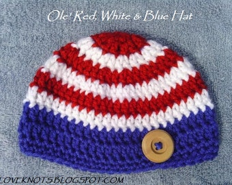 Ole Red White and Blue Baby Hat - Patriotic Baby Hat - Patriotic Baby Beanie - Striped Baby Beanie - Striped Baby Hat - Wooden Button Hat