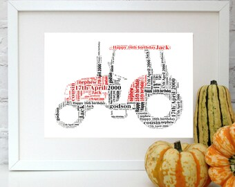Personalised Tractor Print - Custom Tractor print - Nursery art - Name Print - Farmer Gift - Tractor Nursery - Baptism Gift - Tractor gift