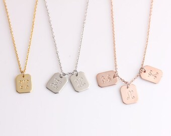 Initials Necklace - Personalized Square Necklace - Minimal Monogram Initials Charm