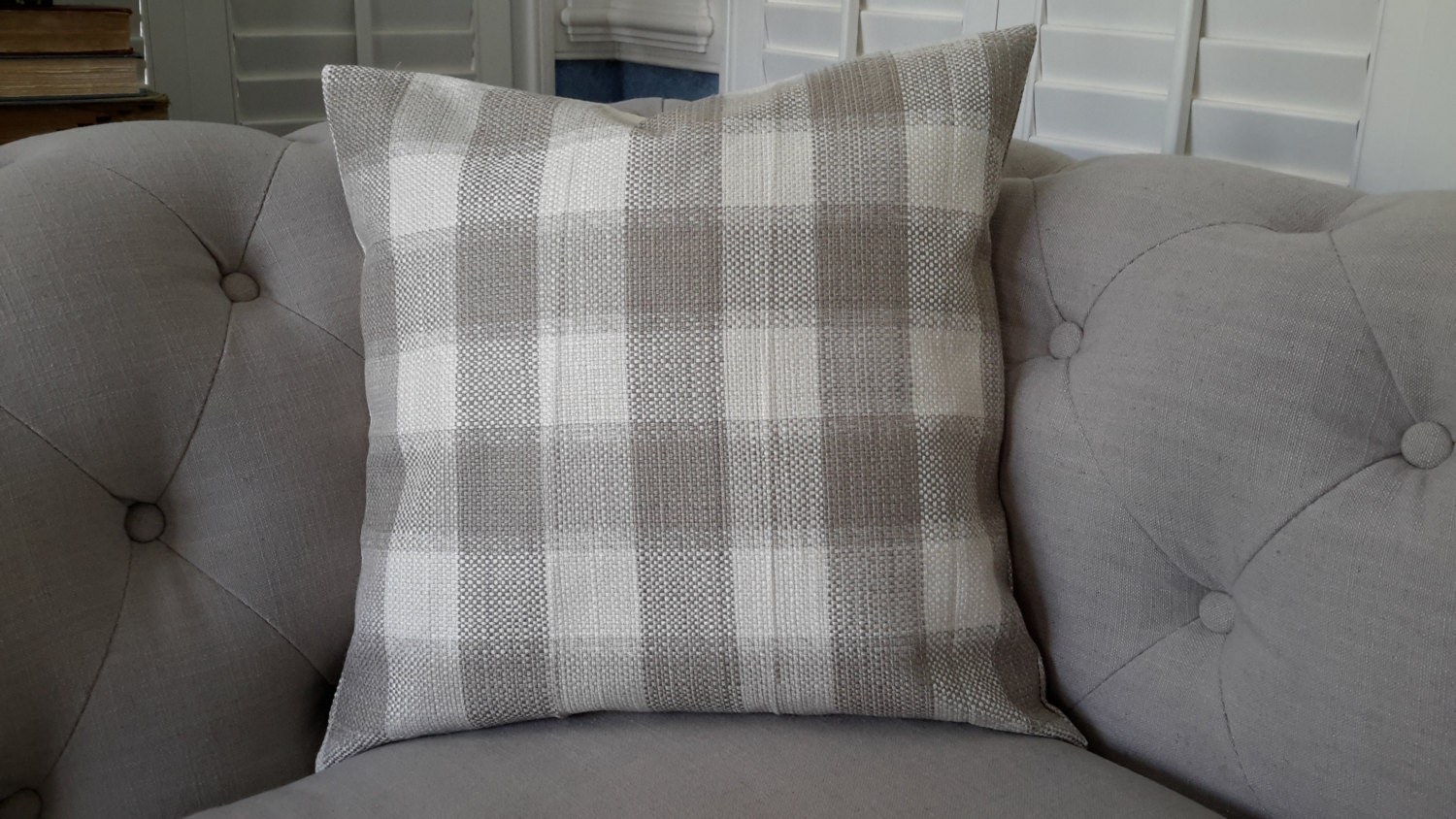 buffalo check pillow gray and white check pillow by justpillowtalk. Black Bedroom Furniture Sets. Home Design Ideas