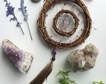 Amethyst || Larvikite || Double || Earthy || Grapevine || Dreamcatcher || Wall Hanging || Third Eye || Calming || Peaceful