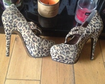 Vintage Leopard print  Mary Jane's, hidden Platform Shoes, Burlesque, Showgirl,