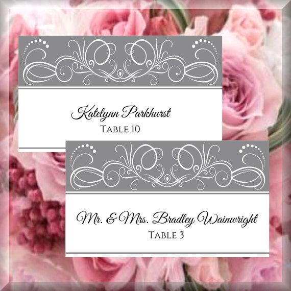 white on gray swirl printable flat place card editable