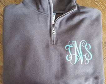 Monogram Sweat Shirt - 1/4 Zip Sweat Shirt - Cute - Preppy - Must Have