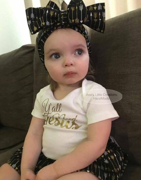 Y'all Need Jesus BodySuit Dress Black/White/Gold, Custom Baby Dress and Self Tied Headwrap/Headband Set
