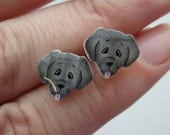 Black Labrador/ Retriever/ Flatcoat type cute stud/ post earrings. Shrink plastic. Can be customized.