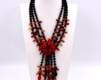 New arrival black crystal and red agate carnelian flower necklace