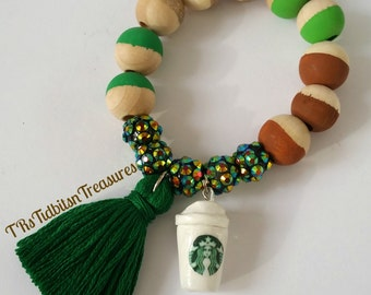 Starbucks Charm and Tassel Bracelet