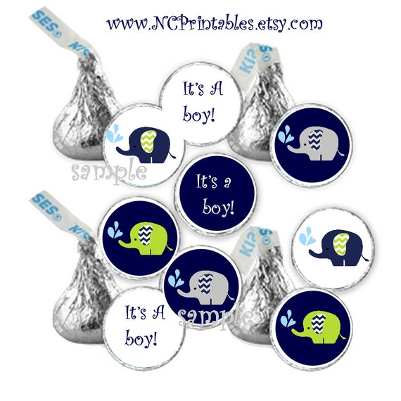 Elephant Blues Greens Baby boy shower favors gift  candy stickers (108)