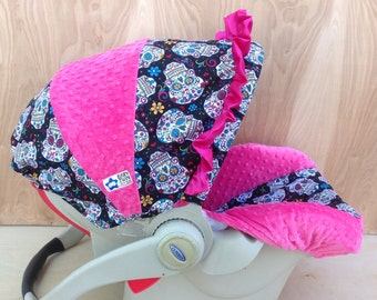 Infant Car Seat Cover- Flokoric Skulls/ Hot Pink