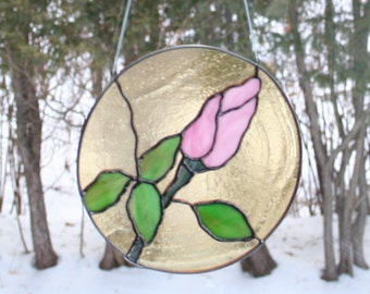 Stained glass rose - pink