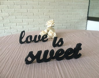 LOVE IS SWEET wooden sign for your sweetheart wedding table. Wedding signs, table decoration. Diy, painted or glittered.