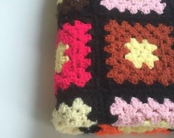 Small Vintage Afghan Throw Handmade Colorful Coverlet