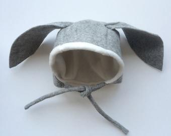 Baby rabbit 100% wool felt bonnet size 0 - 6 months