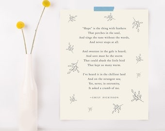 Emily Dickinson Hope is the thing with feathers poetry art, wall decor, literary quote, poem poster, quote print, poem art, gifts for her