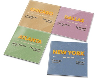 4pcs Retro Style Destination Signs Dining Bar Drink Ceramic Coasters Set