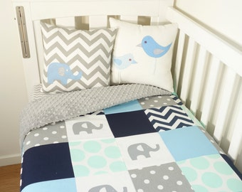 Patchwork quilt nursery set - Mint, baby blue navy and grey elephants, spots and chevron (Grey minky quilt backing)