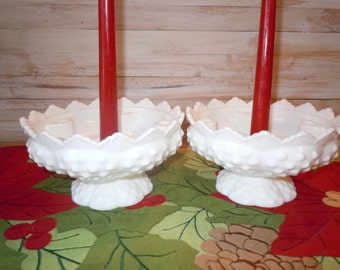 Vintage Milk Glass Hobnail Candle Holders, Pedestal Candle Holders, Centerpiece, Cottage Chic Decor