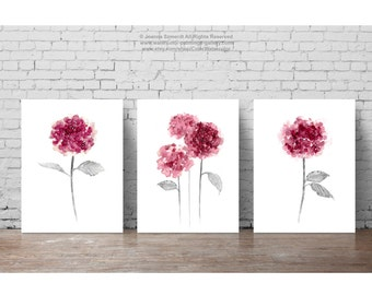 Hydrangea Flowers Set 3,Plum Pink Botanical Wall Decor, Abstract Flower Painting, Rosy Pink Floral Garden Poster, Mother's Day Print