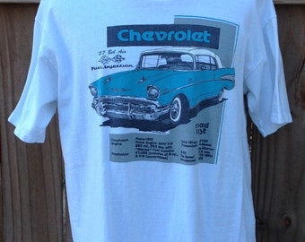 Vintage 1989 XL (46-48) Chevrolet '57 Bel Air, Fuel Injection t-shirt. White Oneita Power-T brand shirt, 100% preshrunk cotton. Terrific lig