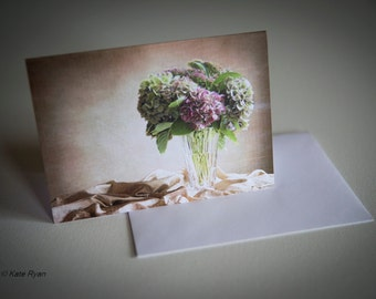 Note Card, Blank Inside, Photo Art, Photo Card, White Envelope, Flower, Hydrangeas, Thank You, Birthday, Get Well, Pink, Tan, Green, For Her