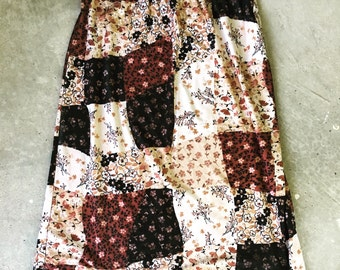 SALE - brown, black, and tan floral patchwork skirt - small