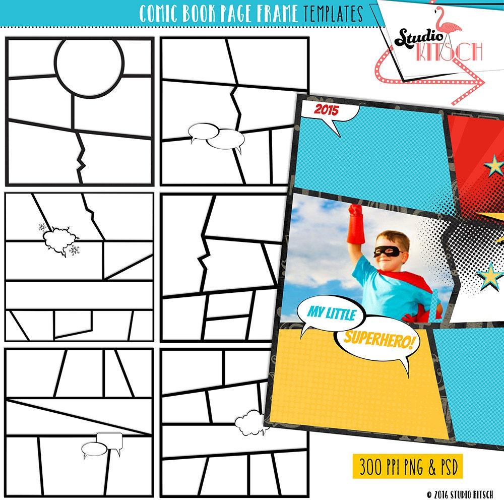 Diy comic book clip art templates comic strip superhero for Comic book page template psd