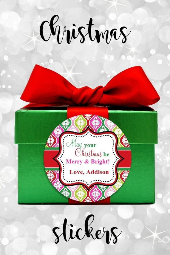 Christmas Stickers - Round Labels - Gift Tags - Colorful Christmas Tags - Christmas Tags - Round Stickers