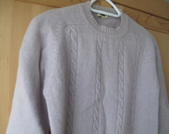 Dove Grey Pure Wool Fisherman Cable Knit Sweater