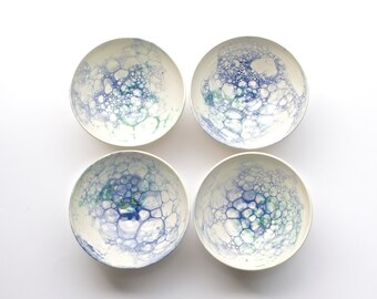 Handmade Ceramic Bowls - Long Island Waters - Handmade Pottery - Ceramic Bowl - Bubble Glaze - Cereal Bowl - Salad Bowl - Serving Bowl