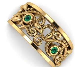 Natural Emerald Vine and Leaves Band, Engagement Bands, 14k Yellow Solid Gold Leaf Eternity Band Ring, Unique Wedding Band