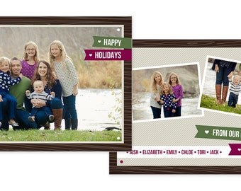 5x7 Photoshop Christmas card template for photographers - Holiday Card - Holiday Delight 1 - Rustic Modern Woodgrain