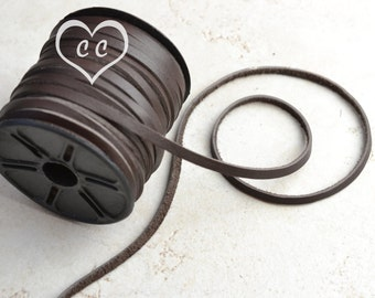 Chocolate Brown / 3mm  Deertan Flat Leather Cord / leather by the yard / genuine leather / necklace cord / bracelet cord