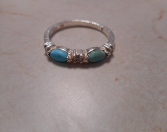 Turquoise Sterling Silver Ring With Rhinestones Signed NV Size 8