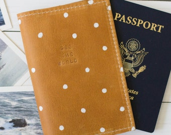 See The World Polka Dot Stamped Leather Passport Cover | The Earhart