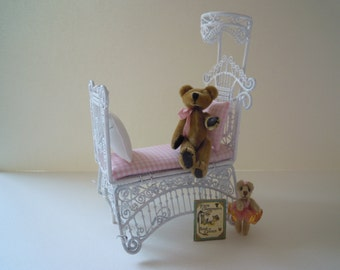 Miniature White Wire Wicker Baby's Crib with Miniature Teddy Bears and Child's Book for a Dollhouse in 1:12th Scale