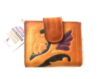 70s 80s Tooled Leather Wallet Bill Fold Tooling Painted Deadstock Unused Deadstock by Sanford