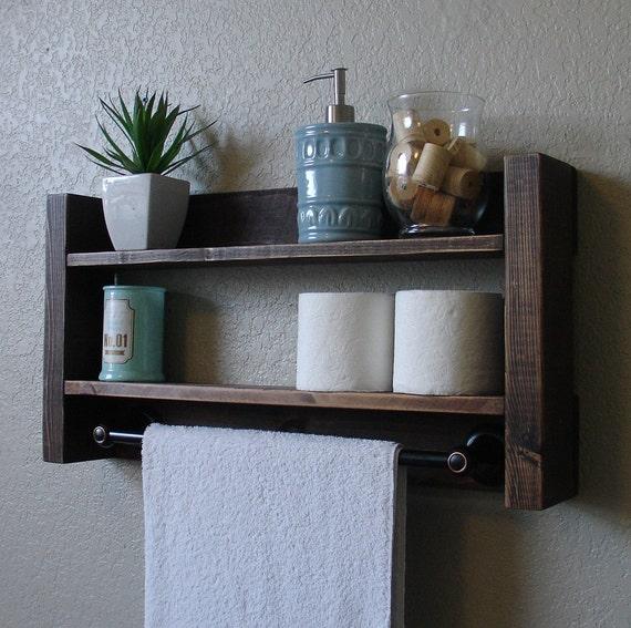 Modern Rustic 2 Tier Bathroom Shelf With 18 Dark By Keodecor