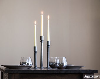 Pipe Taper Candle Holders / Set of 3 - Industrial Decor - Home Accessories - Candlestick Holders - Table Decorations - Taper Candle Holders