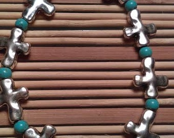 Silver Cross and Turquoise Beads Bracelet Jewelry Handmade Christian Crosses