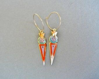 Laurel Burch Luz earrings, Laurel burch tribal earrings, Laurel Burch 1993 earrings, Laurel Burch african earrings, Laurel Luz earrings