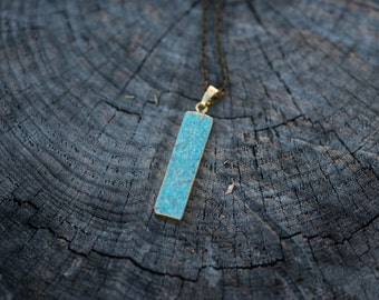 Turquoise Rectangle Pendant Necklace